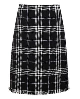 高腰撞色羊毛呢半身裙
