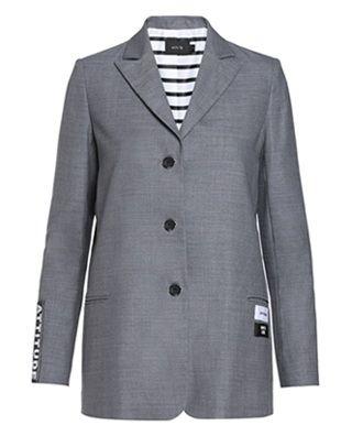 羊毛印花中长西装外套