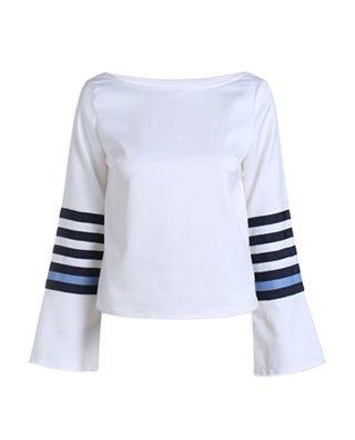 拼接撞色条纹长袖衬衫