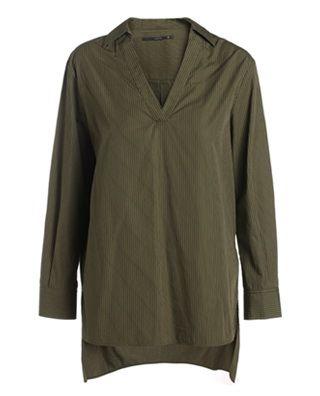 条纹宽松中长纯棉衬衫