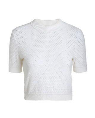 短款小高领棉质套头衫