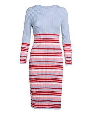 条纹修身毛织连衣裙
