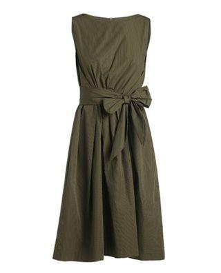 拼系带条纹纯棉连衣裙