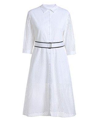 镂空腰带棉质连衣裙
