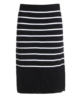 条纹修身羊毛包臀半裙