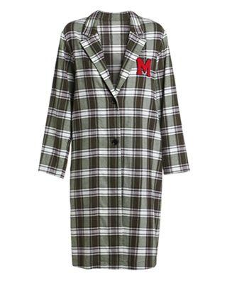 格子绣章长款棉质外套