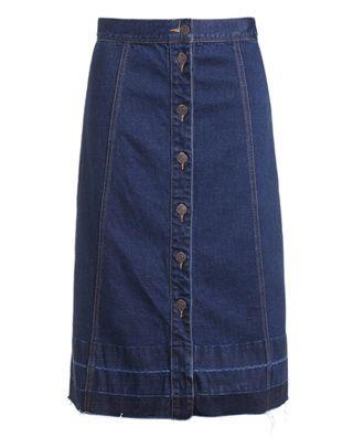 高腰单排扣牛仔半身裙