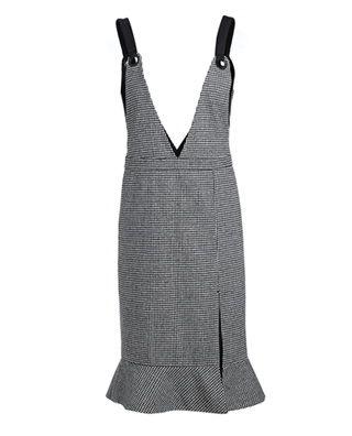 格子毛呢背带裙连衣裙