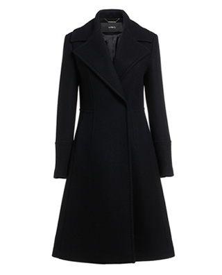 收腰羊毛呢长外套大衣