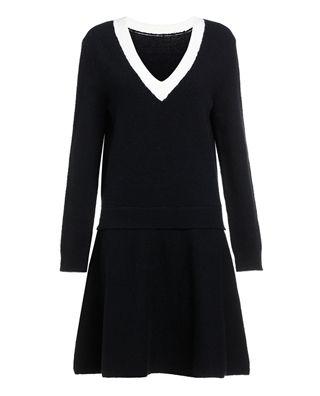 假两件V领毛织连衣裙