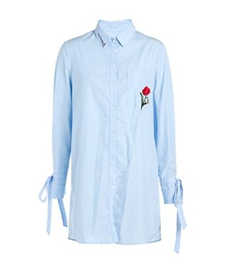 中长款刺绣系带棉衬衫