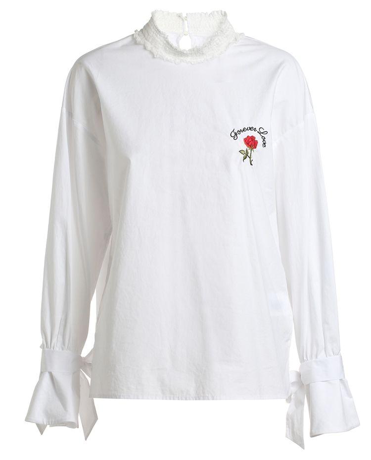 蝴蝶结袖刺绣衬衫