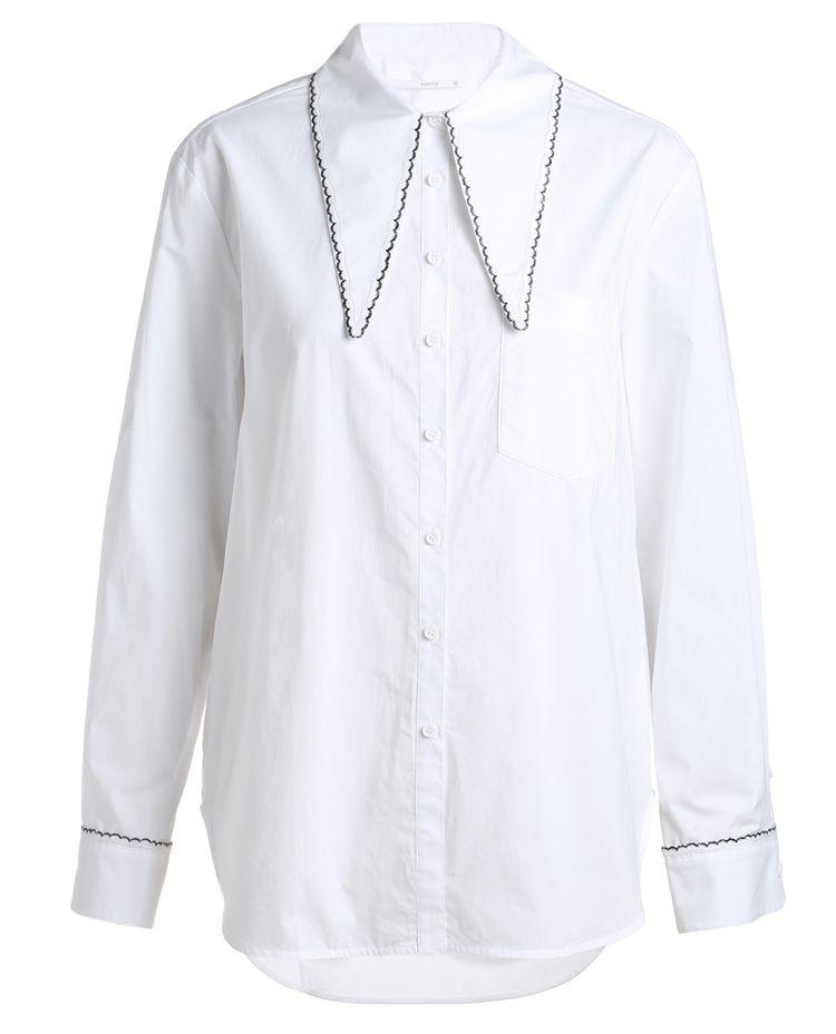 刺绣绑带领棉衬衫