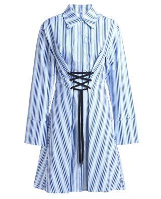 条纹抽绳连衣裙