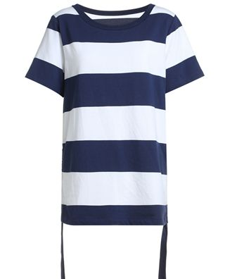 条纹抽绳短袖T恤