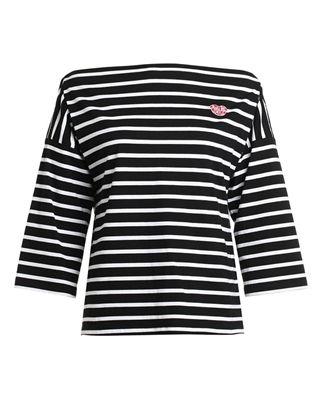 一字领条纹棉T恤