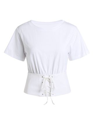 拼束腰短袖T恤女