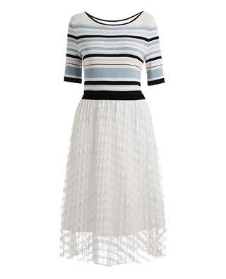 条纹假两件连衣裙