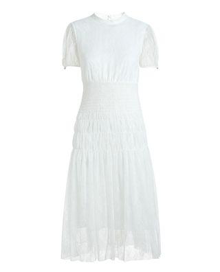 网布褶皱连衣裙