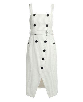 双排扣吊带连衣裙