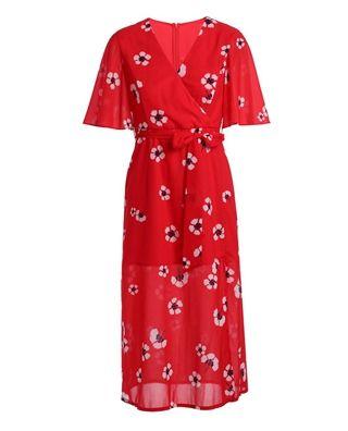 配腰带印花连衣裙