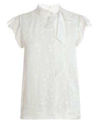綁帶蕾絲無袖襯衫