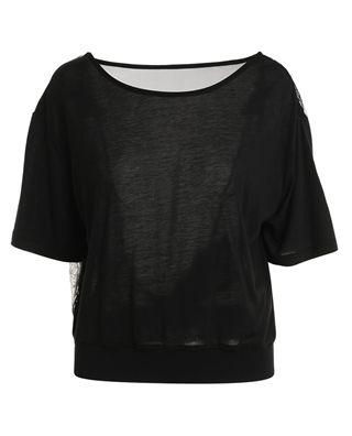 拼接花邊短袖t恤