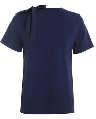 绣花绑带短袖t恤