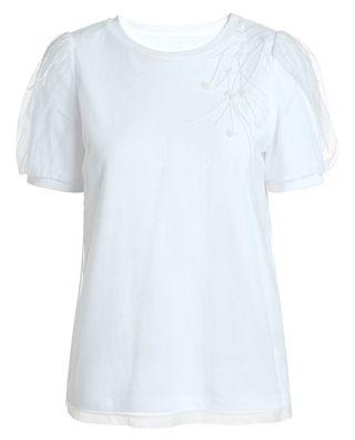 绣花钉珠短袖t恤