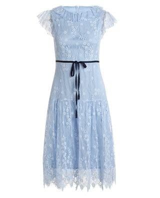 蕾丝边无袖连衣裙