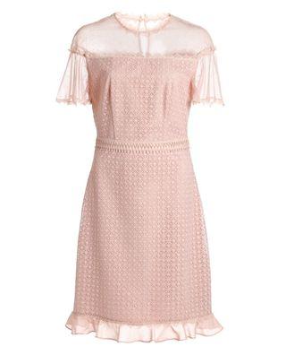 网布绣花连衣裙