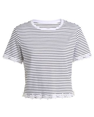 条纹花边短袖t恤