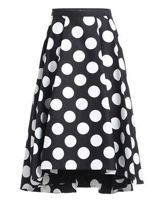 高腰波點半身傘裙