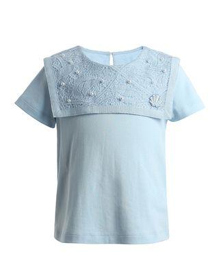 純色蕾絲水手領短袖T恤