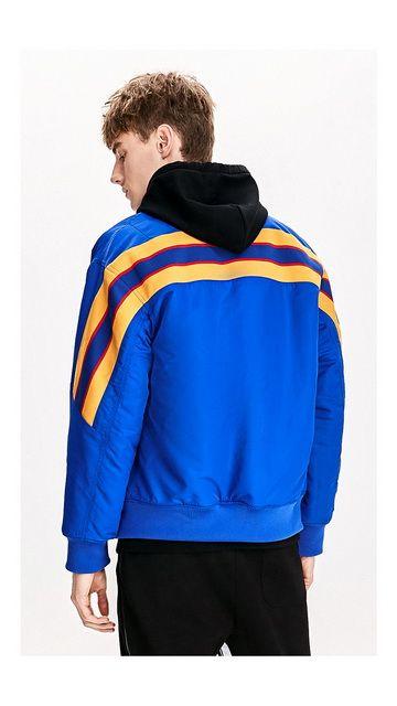 【2件9折 3件8折】条纹宽松立领棉衣外套