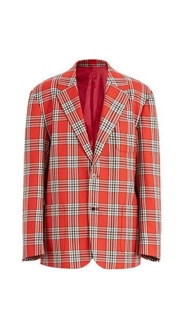 格子羊毛西装外套男