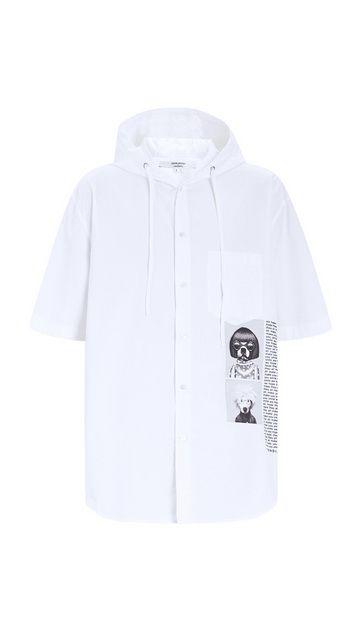潮宠纯棉连帽短袖衬衫