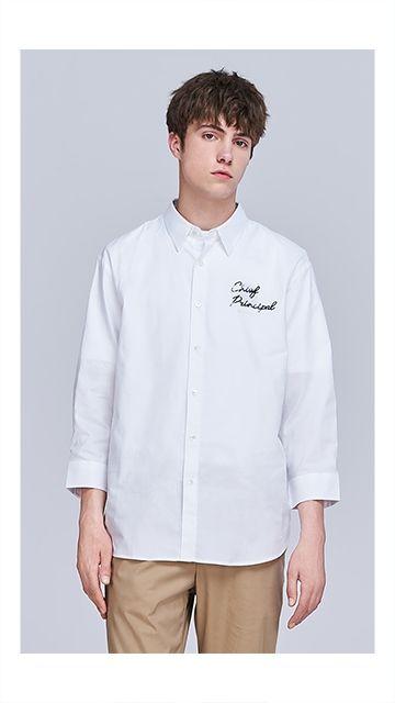 珠片图案纯棉长袖衬衫