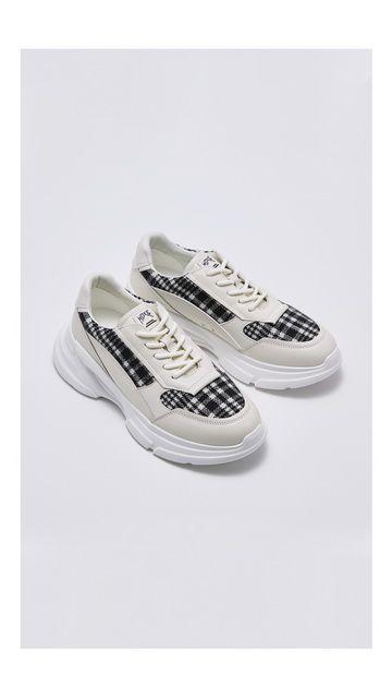 格子系带户外休闲鞋