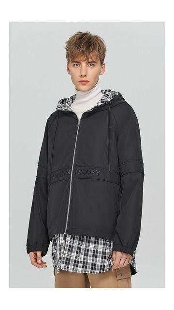 【2件9折 3件8折】中长格纹拼接棉衣外套