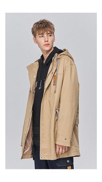 【低至2折】宽松棉质中长连帽风衣