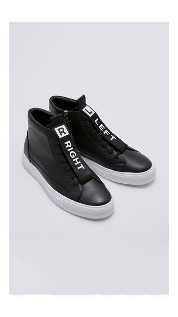字母拉链皮质高帮鞋子