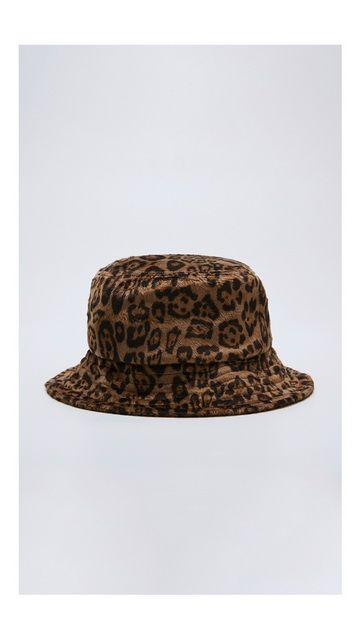 时尚绒面豹纹渔夫帽
