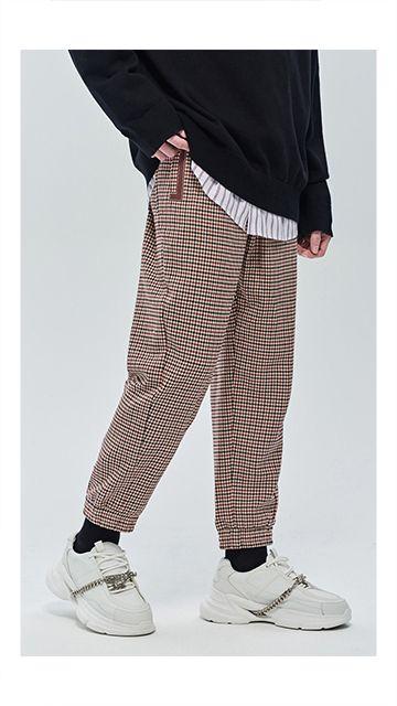 【秒杀】千鸟格抽绳羊毛休闲裤