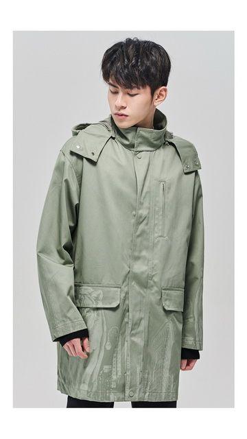 【精选货品】棉质连帽印花风衣外套