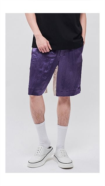 【精选货品】裤子撞色抽绳拼接短裤