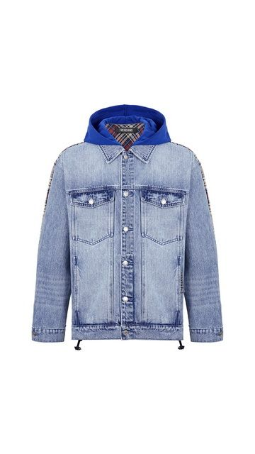 【精选货品】夹克拼接格纹牛仔外套