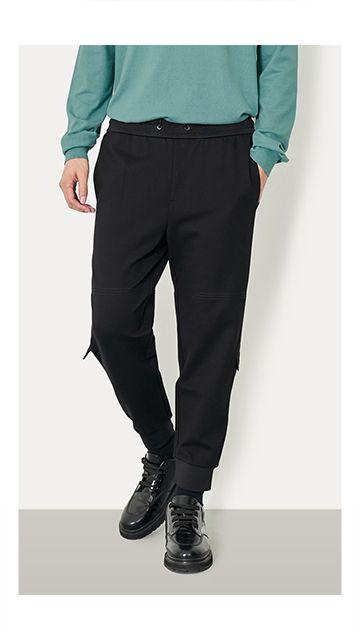 【精选货品】裤子束脚饰边休闲裤