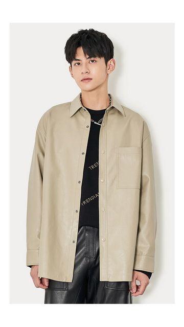 【精选货品】中长款PU皮衣外套男