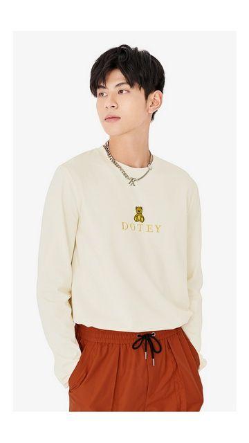 【精选货品】熊刺绣棉质长袖T恤男